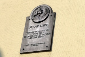 Relief of Franz Liszt in Mozes en Aaronkerk in Waterlooplein, Amsterdam.